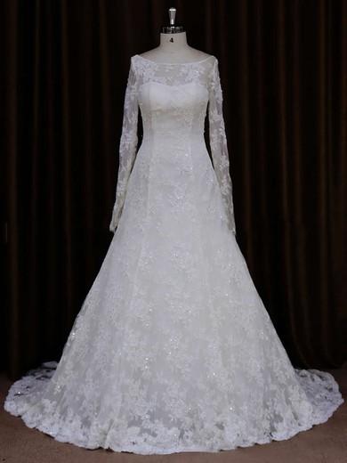 Unique Long Sleeve Ivory Lace Beading Scoop Neck Wedding Dresses #PWD00021634
