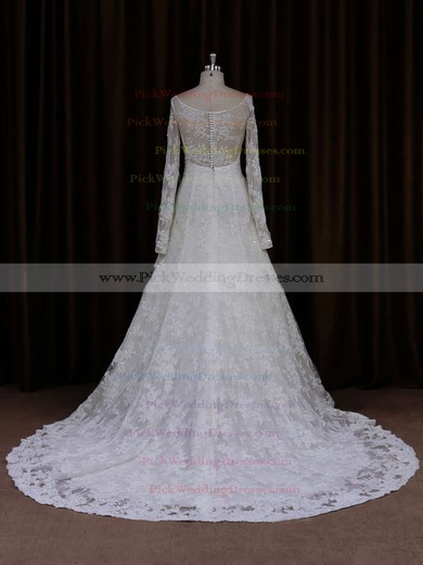 Unique Long Sleeve Ivory Lace Beading Scoop Neck Wedding Dresses #PWD00021634