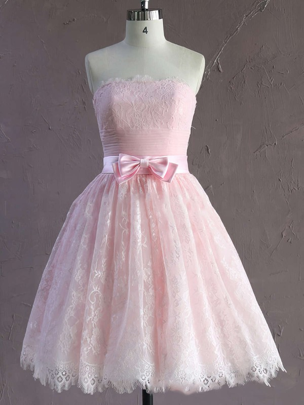 Short/Mini Pink Modest Lace Sashes / Ribbons Strapless Wedding Dresses #PWD00021635