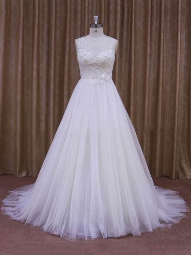 Vintage Court Train White Lace Tulle with Sequins Scoop Neck Wedding Dresses #PWD00021637