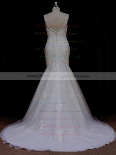 Trumpet/Mermaid Discount Ivory Tulle Appliques Lace Scoop Neck Wedding Dresses #PWD00021638