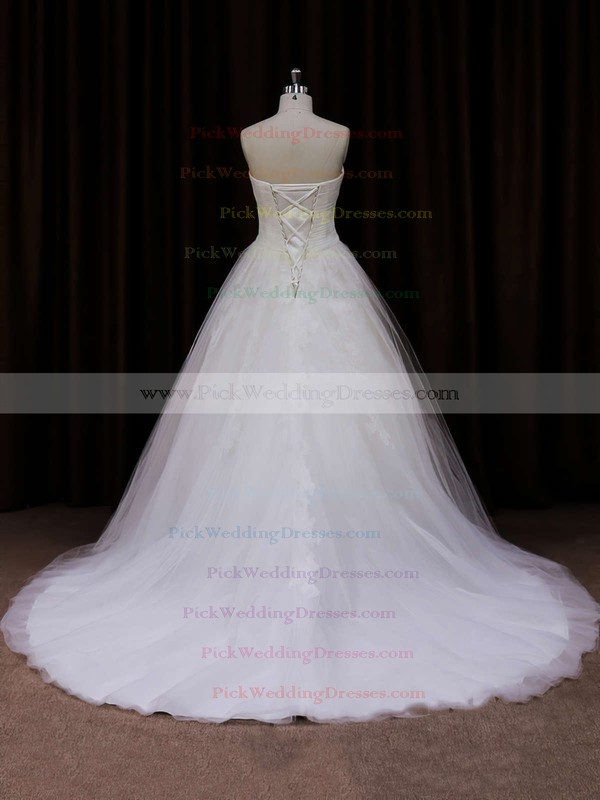 Ivory Court Train Tulle Appliques Lace Sweetheart Lace-up Wedding Dresses #PWD00021639