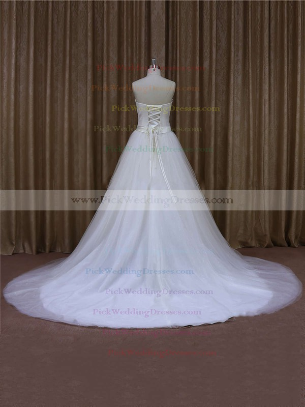 Affordable Ivory Tulle Sashes / Ribbons Chapel Train Sweetheart Wedding Dresses #PWD00021640