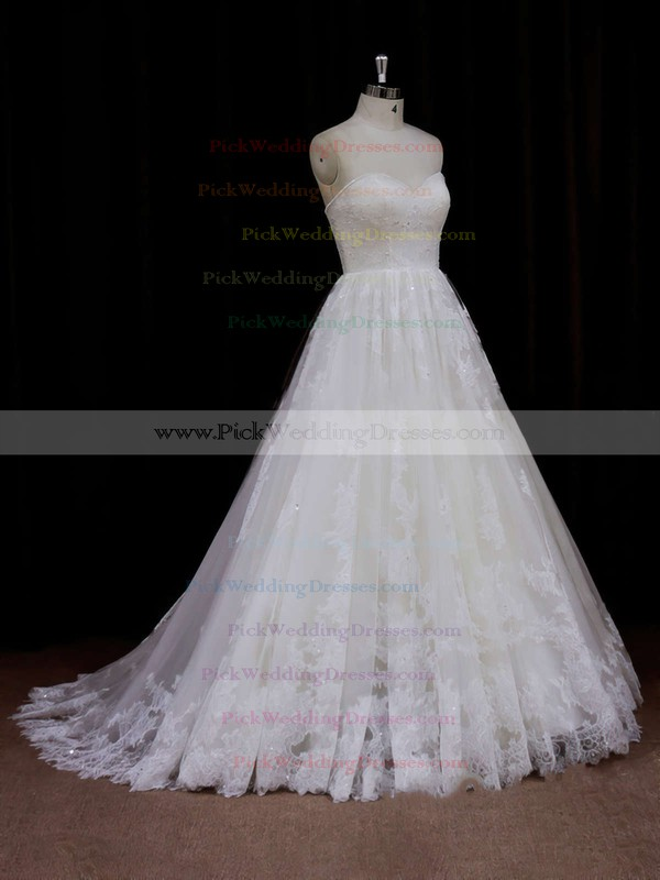Sweep Train Ivory Tulle Beading Sweetheart Beautiful Wedding Dresses #PWD00021641