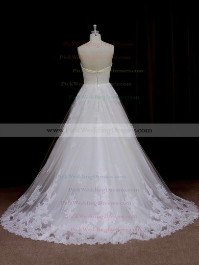 Sweep Train Ivory Tulle Beading Sweetheart Beautiful Wedding Dresses #PWD00021641