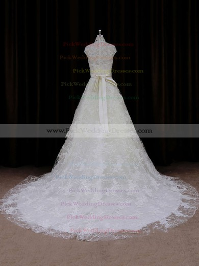 Ivory Court Train Lace Sashes / Ribbons Cap Straps High Neck Wedding Dresses #PWD00021642