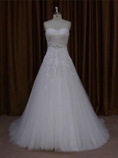 Ivory Sweetheart Tulle Appliques Lace Inexpensive Court Train Wedding Dresses #PWD00021643