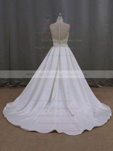 Elegant Court Train Ivory Satin Pearl Detailing Scoop Neck Wedding Dresses #PWD00021645