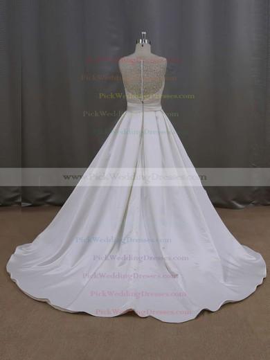Elegant Court Train Ivory Satin Pearl Detailing Scoop Neck Wedding Dresses #PWD00021645