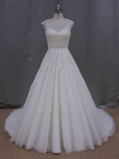 Ball Gown Tulle Appliques Lace Cap Straps Scoop Neck Ivory Wedding Dresses #PWD00021646