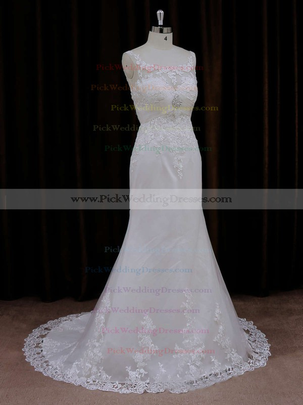 Simple Scoop Neck Ivory Tulle Appliques Lace Trumpet/Mermaid Wedding Dresses #PWD00021647