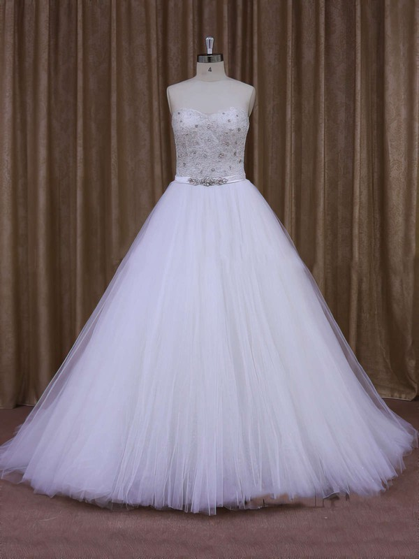 Fabulous Sweep Train Tulle Pearl Detailing White Sweetheart Wedding Dresses #PWD00021651