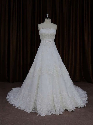 A-line Ivory Tulle Appliques Lace Court Train Lace-up Wedding Dress #PWD00021652