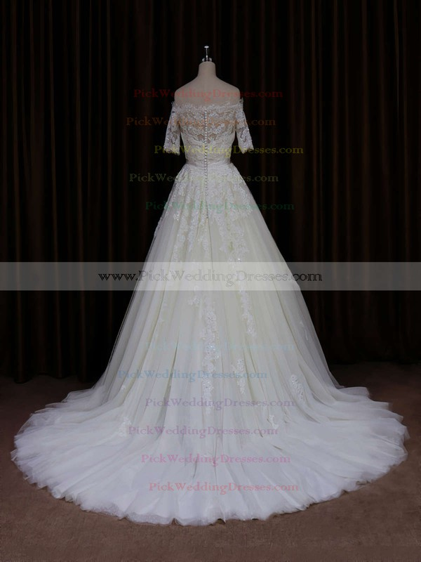 Short Sleeve Off-the-shoulder Ivory Tulle Beading Court Train Wedding Dress #PWD00021654