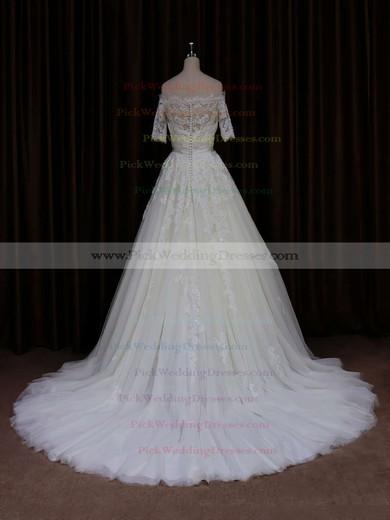 Short Sleeve Off-the-shoulder Ivory Tulle Beading Court Train Wedding Dress #PWD00021654