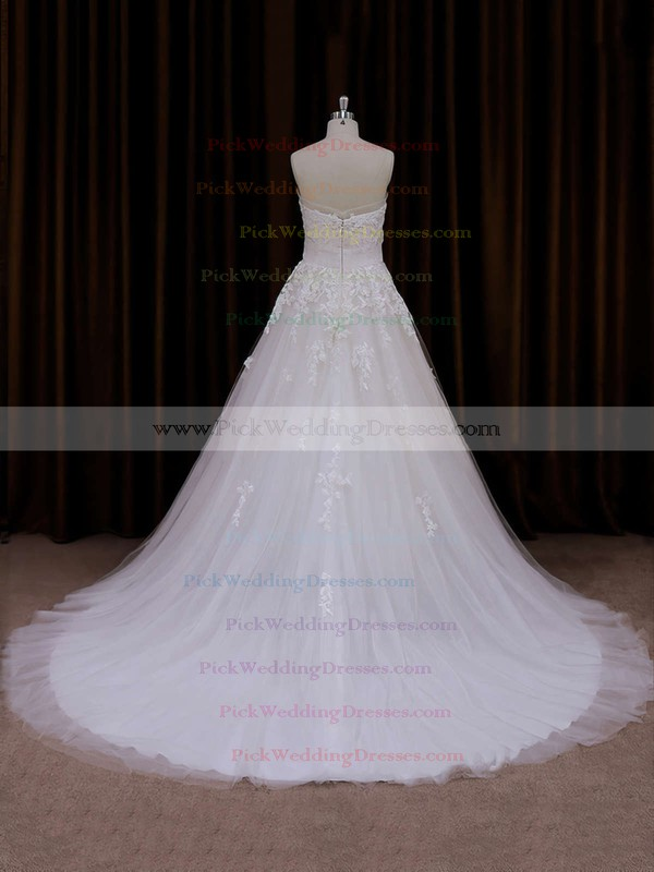 Fashion Strapless Ivory Tulle Appliques Lace Court Train Wedding Dress #PWD00021660