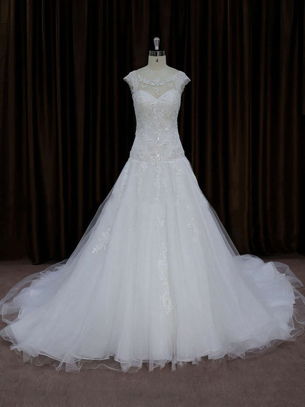 Chapel Train Tulle Appliques Lace Cap Straps Scoop Neck Ivory Wedding Dress #PWD00021664