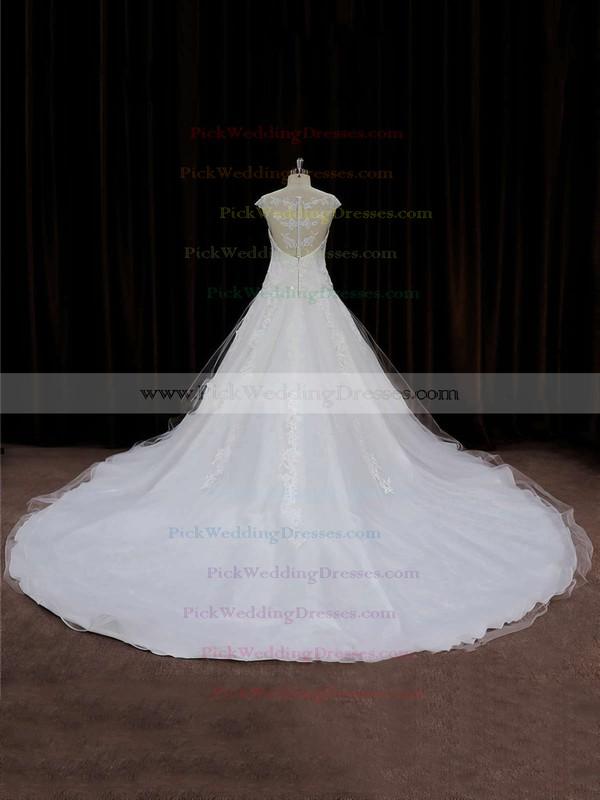 Chapel Train Tulle Appliques Lace Cap Straps Scoop Neck Ivory Wedding Dress #PWD00021664