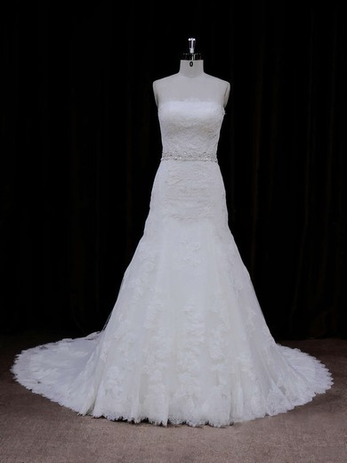 Strapless Ivory Lace-up Tulle Appliques Lace Chapel Train Wedding Dress #PWD00021667