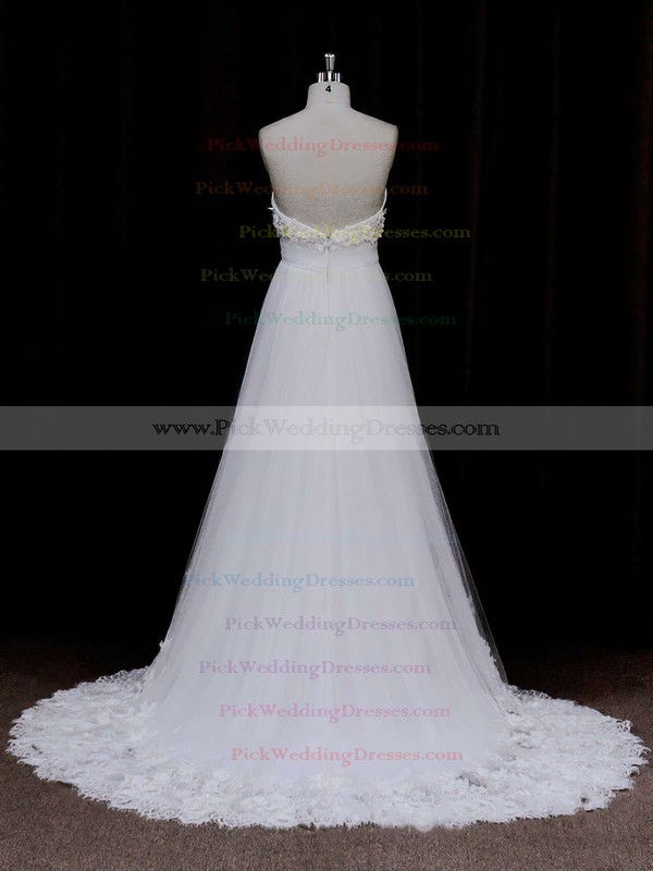 Popular Sweetheart Ivory Tulle Appliques Lace Empire Wedding Dress #PWD00021678