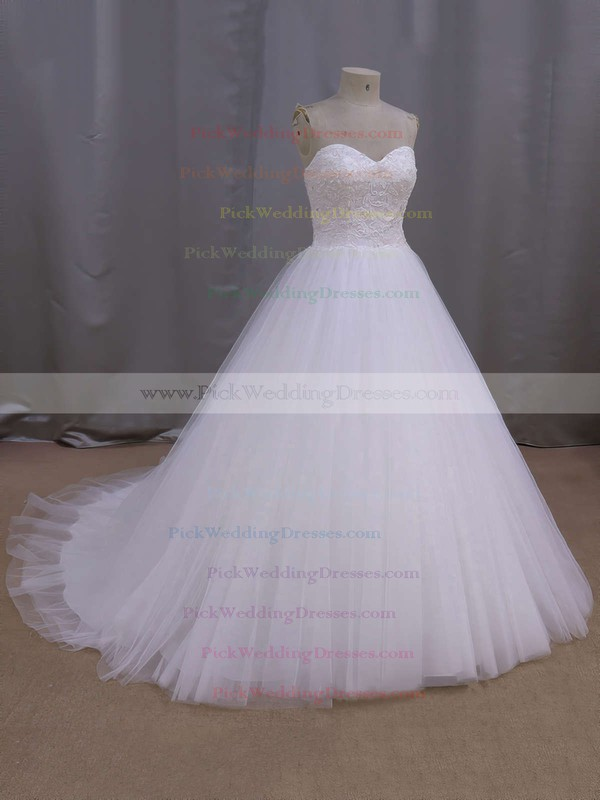 White Sweetheart Lace-up Tulle Beading Court Train Wedding Dress #PWD00021679