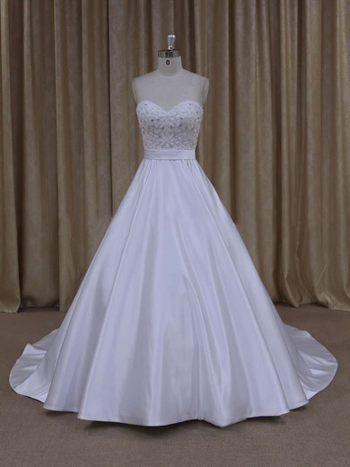 Ivory Sweetheart Satin with Beading Unique Court Train Wedding Dresses #PWD00021686