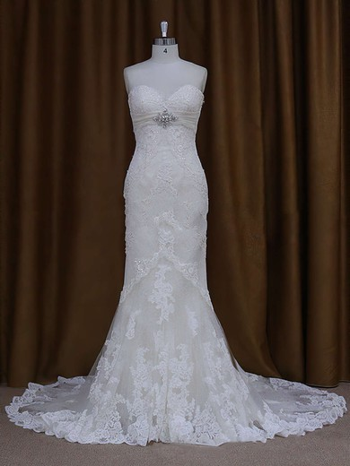 Sweetheart Ivory Lace Beading Lace-up Chapel Train Wedding Dresses #PWD00021687