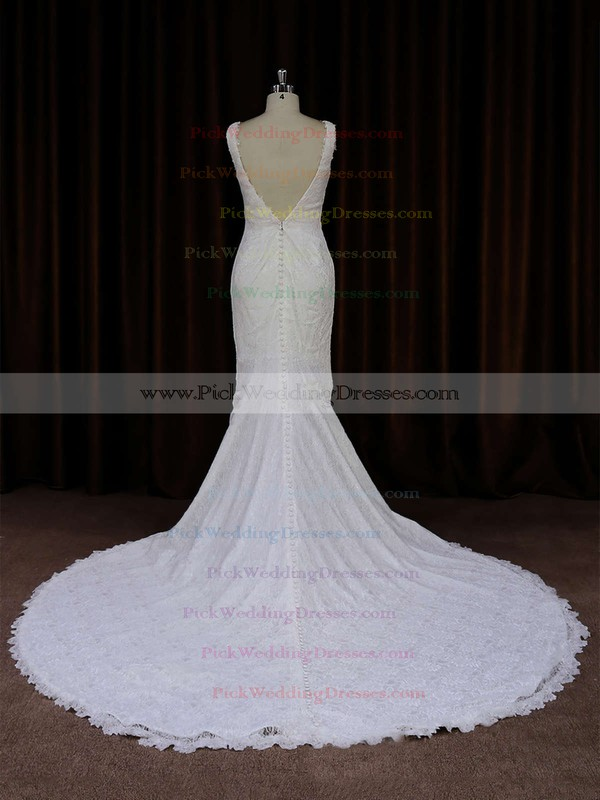 Ivory V-neck Lace Buttons Trumpet/Mermaid Online Wedding Dresses #PWD00021688