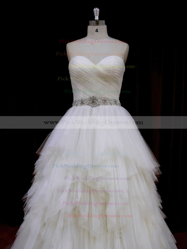 Sweetheart Ivory Modest Tulle Tiered Princess Wedding Dresses #PWD00021691