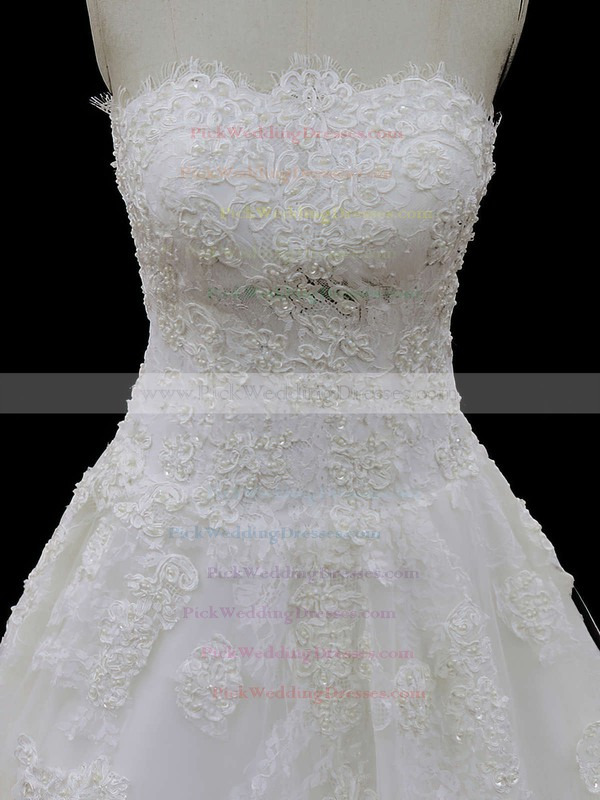 Court Train Ivory Tulle Appliques Lace Beautiful Strapless Wedding Dresses #PWD00021694