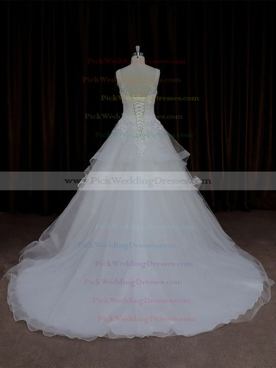 Ball Gown Ivory Lace-up Tulle Appliques Lace V-neck Wedding Dresses #PWD00021695