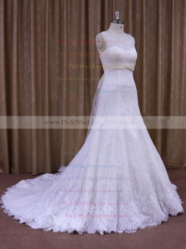 White Court Train Lace Sashes / Ribbons Elegant Scoop Neck Wedding Dresses #PWD00021697