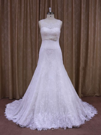 White Court Train Lace Sashes / Ribbons Elegant Scoop Neck Wedding Dresses #PWD00021697