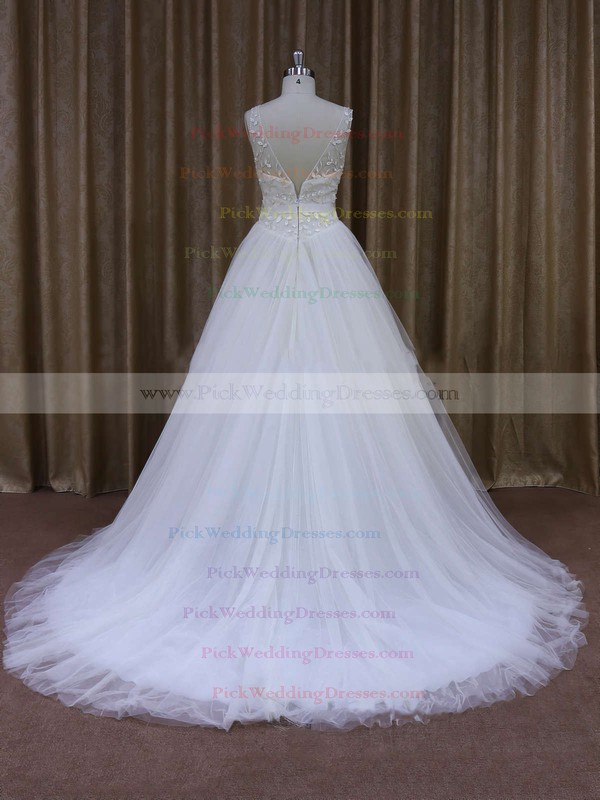 Discount V-neck Ball Gown Crystal Detailing White Tulle Wedding Dresses #PWD00021699
