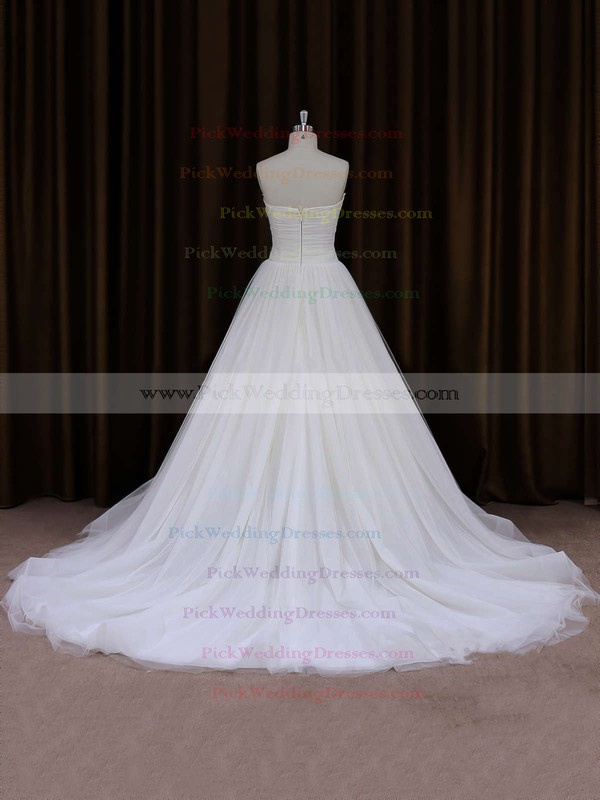 Sweetheart Ivory Tulle Ruffles Chapel Train Inexpensive Wedding Dresses #PWD00021701