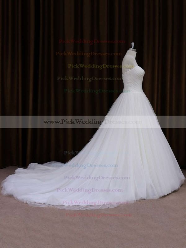 Sweetheart Ivory Tulle Ruffles Chapel Train Inexpensive Wedding Dresses #PWD00021701