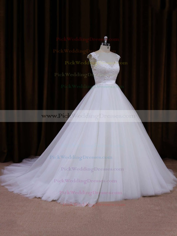 Ball Gown Ivory Tulle Appliques Lace Open Back Cathedral Train Wedding Dresses #PWD00021704