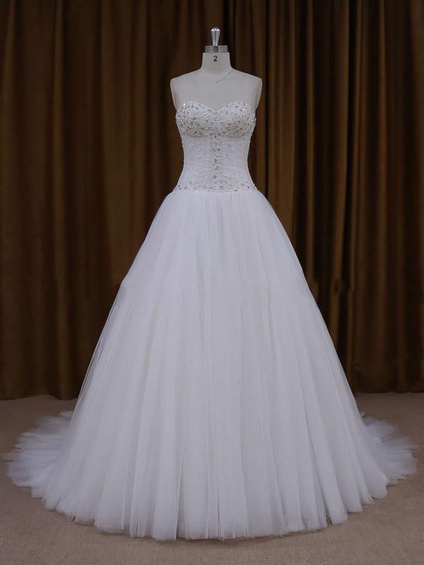 Sweetheart Ivory Tulle Beading Lace-up Princess Wedding Dresses #PWD00021705