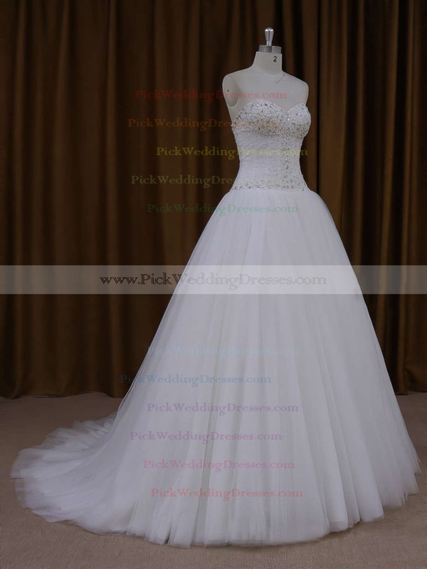 Sweetheart Ivory Tulle Beading Lace-up Princess Wedding Dresses #PWD00021705