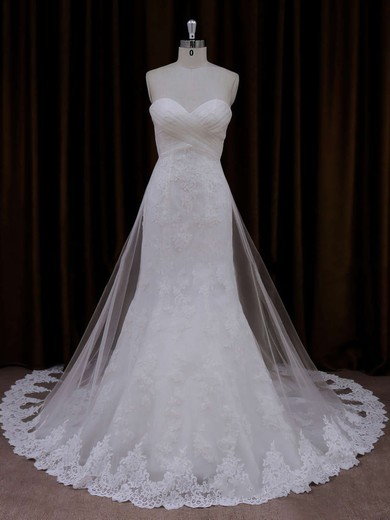 Ivory Lace Tulle Sweetheart Ruffle Trumpet/Mermaid Beautiful Wedding Dresses #PWD00021717