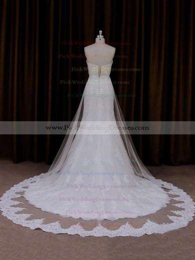 Ivory Lace Tulle Sweetheart Ruffle Trumpet/Mermaid Beautiful Wedding Dresses #PWD00021717