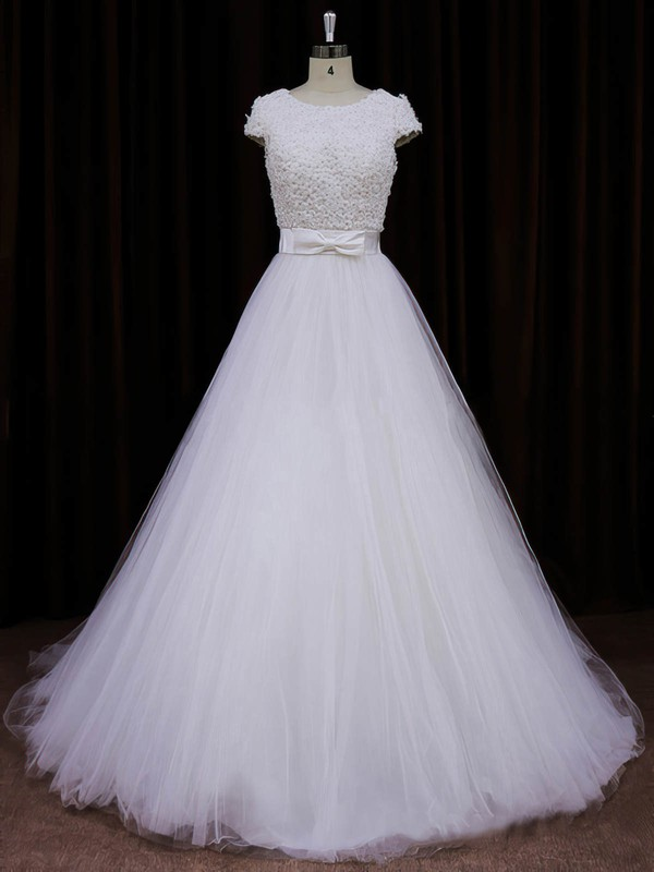 Scoop Neck Ivory Tulle Appliques Lace Cap Straps Princess Wedding Dresses #PWD00021745