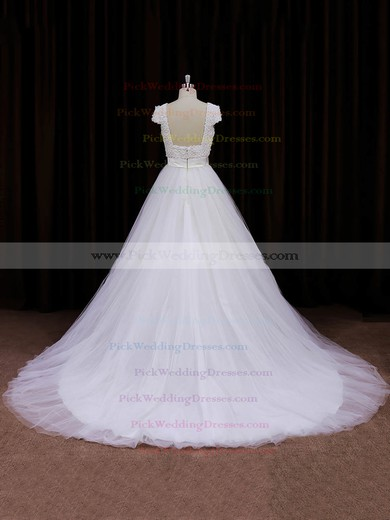 Scoop Neck Ivory Tulle Appliques Lace Cap Straps Princess Wedding Dresses #PWD00021745