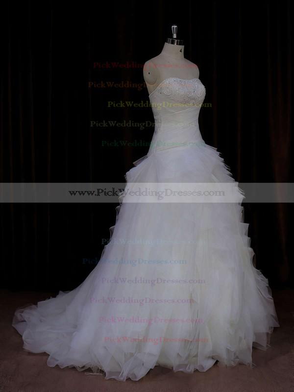 Strapless Ivory Tulle Beading Fashion Sweep Train Wedding Dress #PWD00021766