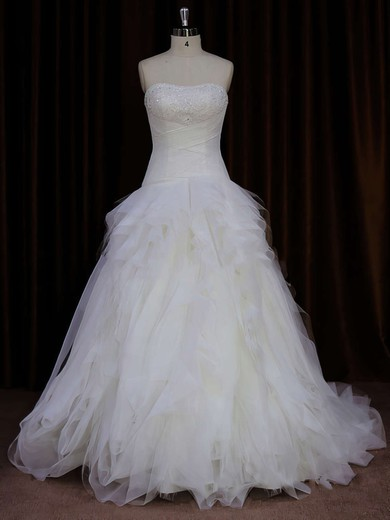 Strapless Ivory Tulle Beading Fashion Sweep Train Wedding Dress #PWD00021766