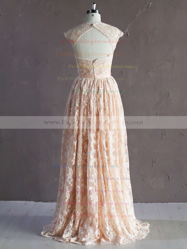 A-line Pink Lace Sashes/Ribbons Trendy Sweetheart Wedding Dress #PWD00021771