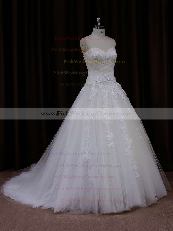 Princess Popular Tulle with Appliques Lace Sweetheart White Wedding Dress #PWD00021772