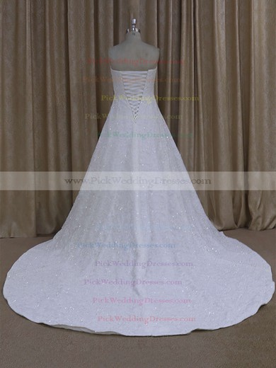 Gorgeous Sweetheart Ivory Tulle Appliques Lace Court Train Wedding Dress #PWD00021773