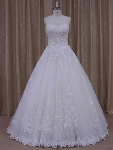 Ball Gown Graceful Tulle Appliques Lace Ivory Floor-length Wedding Dress #PWD00021778