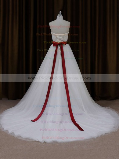 Sweetheart Sashes/Ribbons Lace-up Ball Gown Ivory Tulle Wedding Dress #PWD00021779